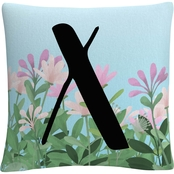 ABC Decorative Throw Pillow Floral Garden Letter Illustration
