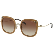 Coach Shiny Light Gold-Transparent Light Brown / Brown Gradient Square Sunglasses
