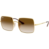 Ray-Ban Gold / Clear Gradient Brown Square Sunglasses
