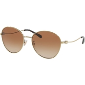 Coach Shiny Light Gold / Brown Gradient Round Sunglasses
