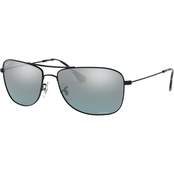 Ray-Ban Black / Grey Mirror Polar Pilot Sunglasses