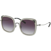 Coach Shiny Gunmetal Transparent Glitter / Blue Pink Gradient Square Sunglasses