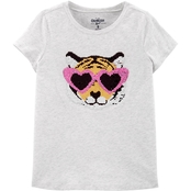 OshKosh B'gosh Little Girls Tiger Flip Sequin Tee