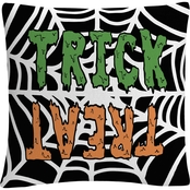 'Trick Or Treat Web Green Orange Halloween' By ABC Decorative Throw Pillow