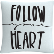 Trademark Fine Art Typographic Follow Your Hear Decorative Throw Pillow