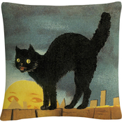 Trademark Fine Art Black Cat On Fence Halloween Decorative Throw Pillow