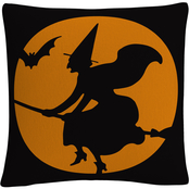 'The Witches Broom Over Orange Moon Halloween' By ABC Decorative Throw Pillow
