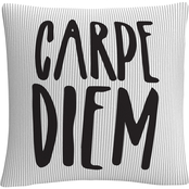 'Typographic Modern Carpe Diem Stripes' By ABC Decorative Throw Pillow