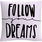 'Typographic Follow Your Dreams' By ABC Decorative Throw Pillow