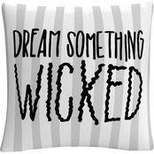 'Dream Something Wicked Typographic Gray Halloween' By ABC Decorative Throw Pillow