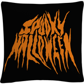 Trademark Fine Art Orange Spooky Metal Halloween Decorative Throw Pillow