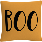 'Orange Modern Contemporary Boo Script' By ABC Decorative Throw Pillow