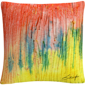 Trademark Fine Art Zigs Zag Red Yellow Abstract Decorative Throw Pillow