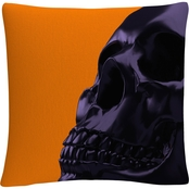 Trademark Fine Art Black Halloween 3D Skull Decorative Throw Pillow