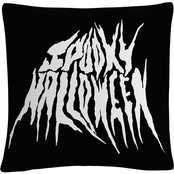 'White Spooky Metal Halloween' By ABC Decorative Throw Pillow