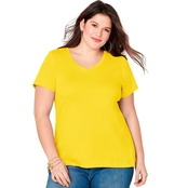 Avenue Plus Size Solid Color V Neck Tee