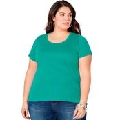 Avenue Plus Size Solid Color Scoop Neck Tee