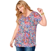 Avenue Plus Size Bright Paisley Hi Lo Tunic