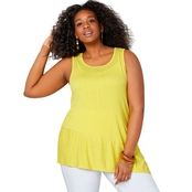 Avenue Plus Size Crochet Back Tank with Asymmetrical Hem