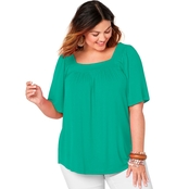 Avenue Plus Size Solid Color Square Neck Top