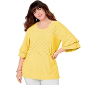 Avenue Plus Size Eyelet Double Ruffle Top
