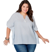 Avenue Plus Size Blue and White Embroidered Poncho