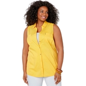 Avenue Plus Size Sleeveless Knit To Fit Button Front Shirt