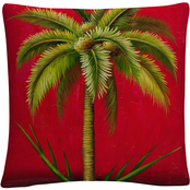 'Tropical Palm I' Mid Century Red' By Masters Fine Art Decorative Throw Pillow