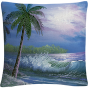 Trademark Fine Art Moonlight In Key Largo Coastal Waves Decorative Throw Pillow