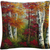 Trademark Fine Art Indian Summer Autumn Birch Trees Decorative Throw Pillow
