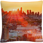 Trademark Fine Art Midtown Sunset Orange Cityscape Decorative Throw Pillow