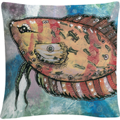 'Pascado Rojo' Orange Painted Fish' By Masters Fine Art Decorative Throw Pillow