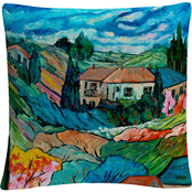 Trademark Fine Art Valley House Tuscan Bold Abstract Decorative Throw Pillow
