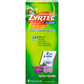 Children's Zyrtec Allergy Dye-Free Sugar Free Syrup 4oz Grape