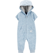 Carter's Infant Boys Dog Print Hooded French Terry Jumpsuit