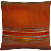 Trademark Fine Art Red Horizon Abstract Bold Industrial Decorative Throw Pillow