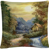 'Tranquility' Rustic Landscape' By Masters Fine Art Decorative Throw Pillow