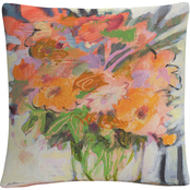 'Orange Bouquet Floral Painting' By Sheila Golden Decorative Pillow