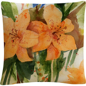 Trademark Fine Art Tiger Lilies Orange Modern Decorative Throw Pillow