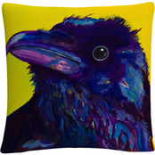 'Corvus' Animals Pets Painting Bold' By Pat Saunders White Decorative Throw Pillow