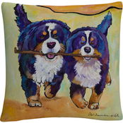 'Stick Together' Bold Pets Animals' By Pat Saunders White Decorative Throw Pillow