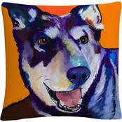 Trademark Fine Art Charley Dog Orange Pets Decorative Throw Pillow