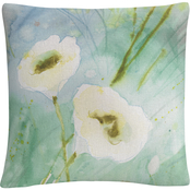 Trademark Fine Art Quiet Pond White Soft Floral Motif Decorative Throw Pillow