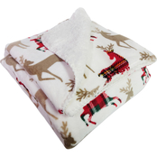 Berkshire Blanket Reindeer Print VelvetLoft Reversible Sherpa Throw