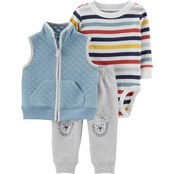 Carter's Infant Boys Striped Bodysuit, Vest and Pants 3 pc. Set