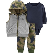 Carter's Infant Boys Camo Little Vest 3 pc. Set