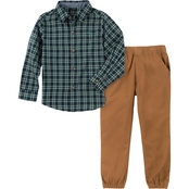 Nautica infant boys button down shirt and pant two piece set