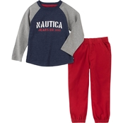 Nautica infant boys long sleeve top and pants two piece set