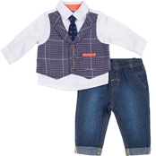 INFANT BOYS 3PC PLAID MOCK VEST SET