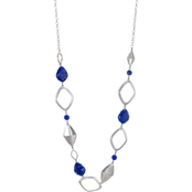 Carol Dauplaise Silvertone Blue Long Linked Station Necklace